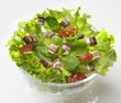 Green salad with diced bacon and tomatoes