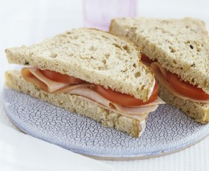 Ham and tomato sandwiches