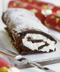 Chocolate sponge roulade for Christmas
