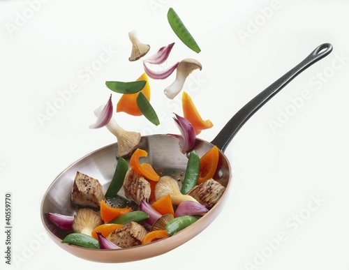Pork and vegetables in a frying pan