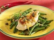 Chicken with garlic and chilli on green beans