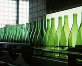 Empty wine bottles in a bottling plant