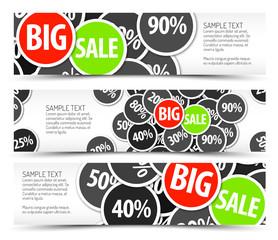 Set of vector big sale horizontal banners