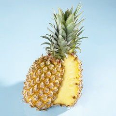 A halved pineapple