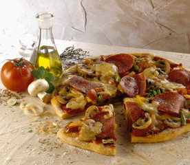 Pizza capricciosa (pizza with salami and vegetables, Italy)