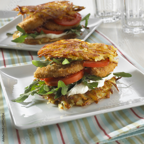 Potato cake, soft cheese and chicken burger