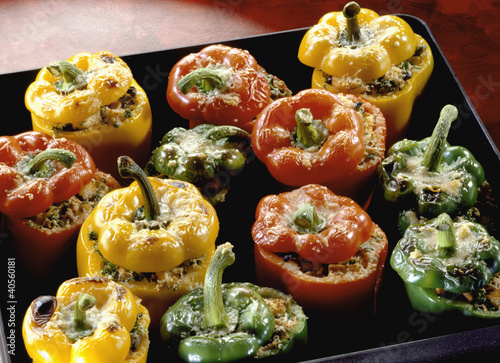 Stuffed peppers on baking tray