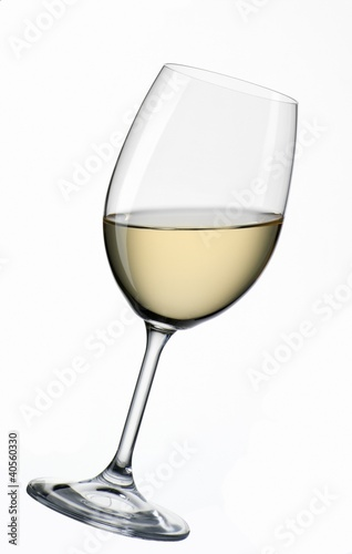 A glass of white wine, at an angle