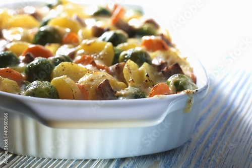 Brussels sprout and potato gratin