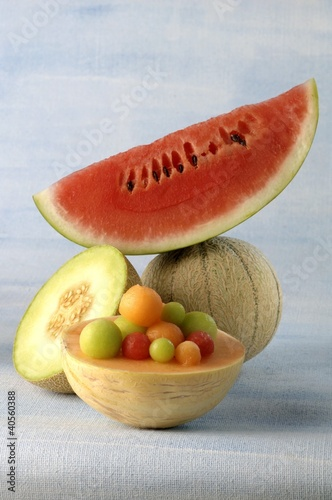 Three different melons and melon balls