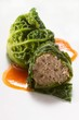 Savoy cabbage roulade with lamb filling
