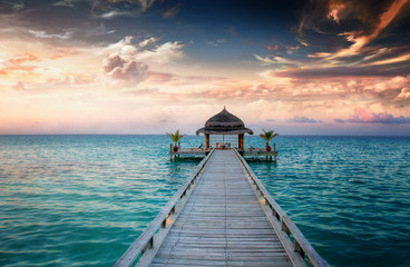 Sunset / Sunrise Jetty at Maldives / Malediven © XtravaganT