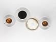 Espresso, black coffee and milky coffee