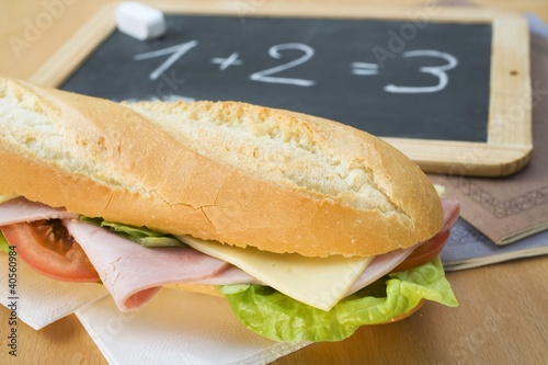 A ham and cheese sandwich for school