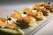 Salmon and caviar canapés