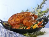 Stuffed poularde with vegetables and herbs