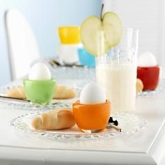 Eggs, croissants and milkshake for breakfast