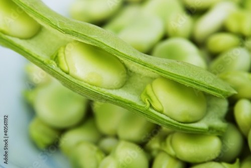 Broad beans, some in pod