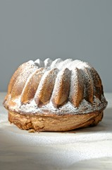 A marbled gugelhupf with icing sugar