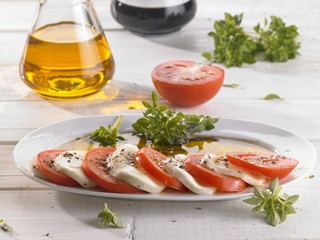 Tomatoes and mozzarella on a platter