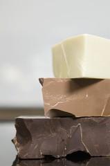 Dark chocolate, milk chocolate and white chocolate