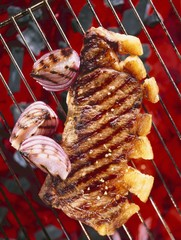 Sirloin steak with onions on a barbecue