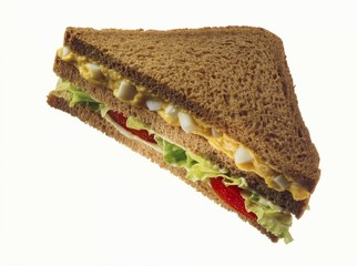 Double-decker wholemeal egg, lettuce & tomato sandwich