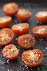 Cherry tomatoes sprinkled with vinaigrette