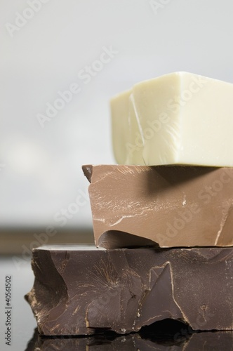 Dark chocolate, milk chocolate and white chocolate