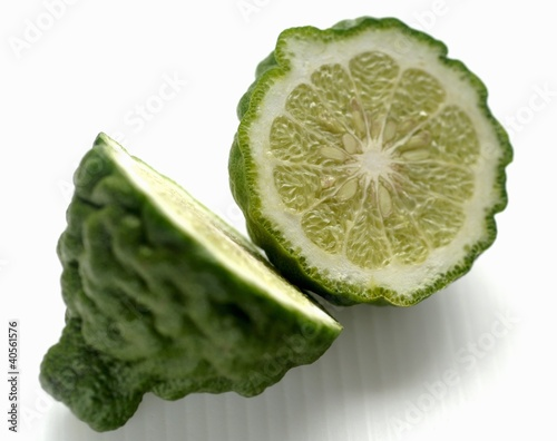A halved kaffir lime