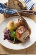 Duck with red cabbage and potato dumpling (Bavaria)