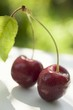 Two cherries with stalk and leaf on table in open air