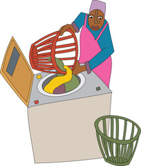 Young black woman laundry worker