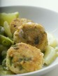 Fish cakes with potatoes and leeks
