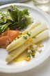 White asparagus with smoked salmon, egg sauce & salad leaves