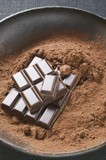 Cocoa powder and pieces of chocolate in bowl