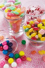 Assorted sweets in glasses