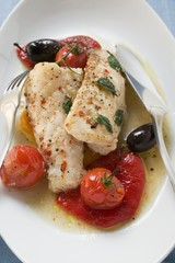 Monkfish fillets with cherry tomatoes and olives