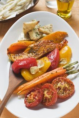 Roasted vegetables on platter