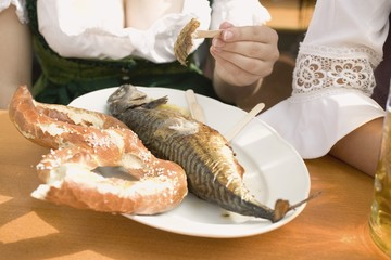 Steckerlfisch (fish on stick) & pretzel (Oktoberfest, Munich)