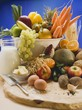 Fresh vegetables, fruit, eggs, butter and milk