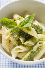 Penne with pesto and fresh basil