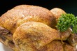 Spicy roast chicken, garnished with parsley