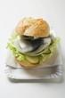 Herring, onions & gherkins in bread roll on paper plate