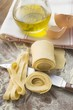 Home-made ribbon pasta, olive oil, eggshells