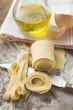 Home-made ribbon pasta, olive oil, eggshells