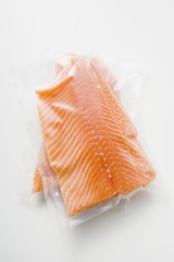 Salmon fillet in plastic packaging