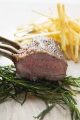 Rack of lamb on rosemary
