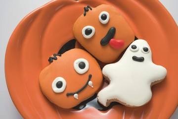 Assorted Halloween biscuits on plate