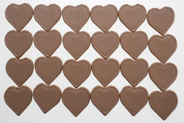 Chocolate hearts in four rows